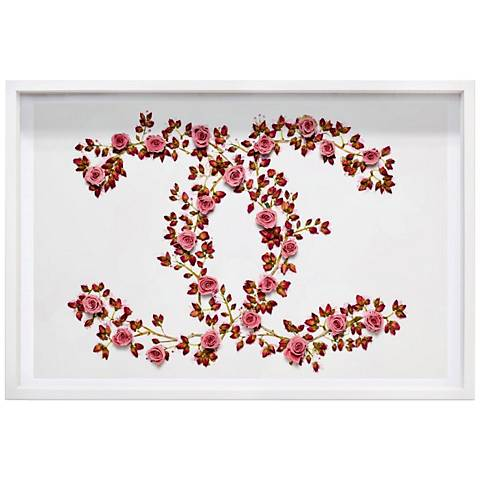 "Oliver Gal Sakura Love 27"" Wide Framed Wall Art"