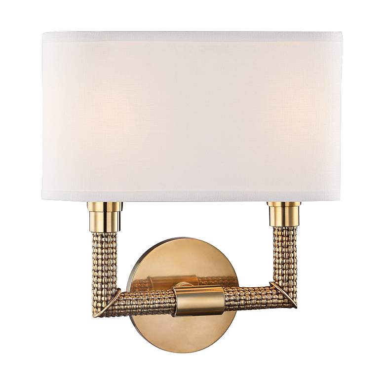 """Hudson Valley Dubois 12 1/2""""H Aged Brass Wall Sconce"""