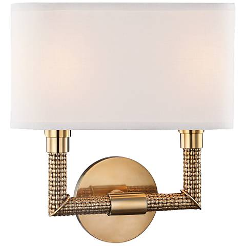 "Hudson Valley Dubois 12 1/2""H Aged Brass Wall Sconce"