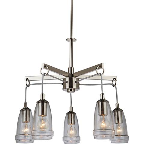 "Artcraft Nottingham 26""W Brushed Nickel 5-Light Chandelier"