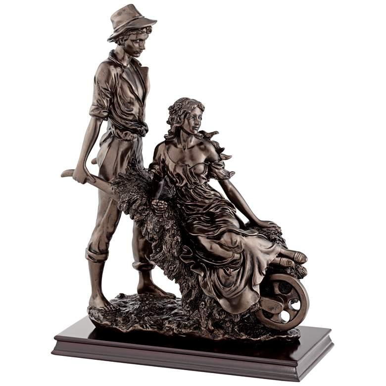 "Garden Couple 18 1/2"" High Dark Bronze Sculpture"