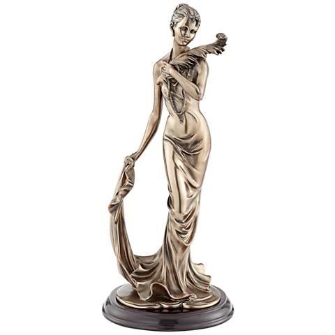 "Majestic Woman 14"" High Dark Bronze Sculpture"
