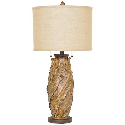 Crestview Collection Banana Leaf Tobacco 2-Light Table Lamp