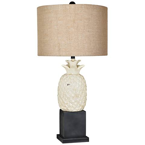Crestview Collection Welcome Cream and Black Table Lamp