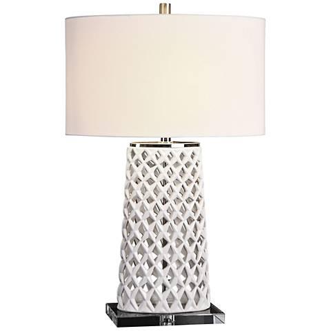 Uttermost Dania Gloss White Ceramic Table Lamp