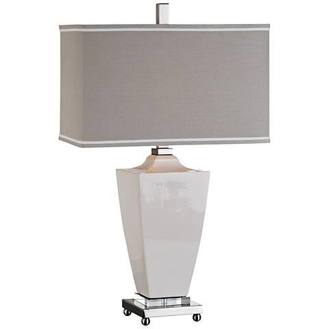 Uttermost Rochelle Glossy White Ceramic Table Lamp