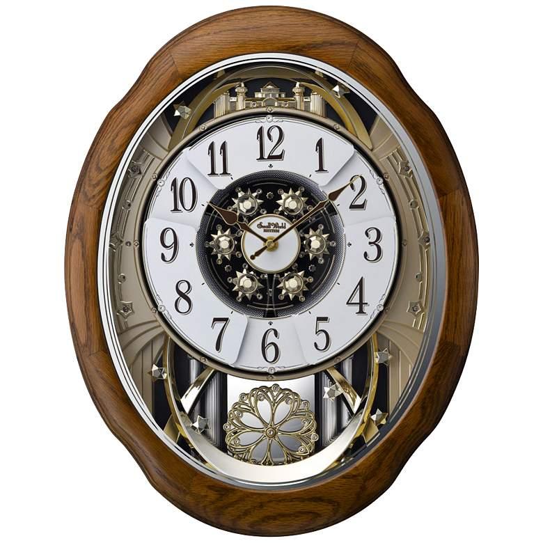 "Joyful Meditation Oak 21"" High Musical Motion Wall Clock"