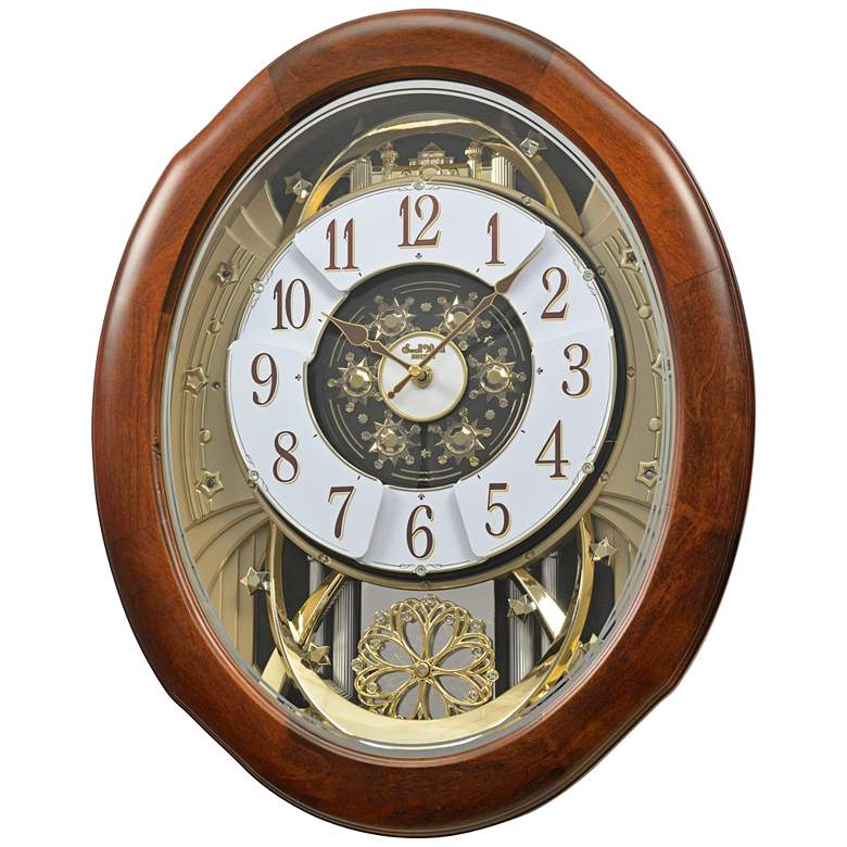 "Magnificent Walnut 21"" High Musical Motion Wall Clock"