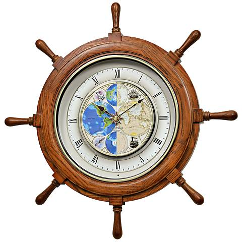 "Time Trip Oak Ships Wheel 25"" Round Motion Wall Clock"