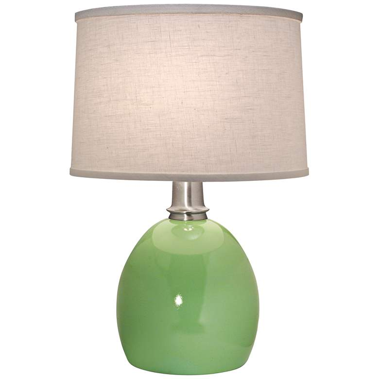 Stiffel Glossy Light Green Round Table Lamp