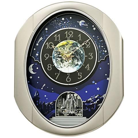 "Peaceful Cosmos II Silver 18 1/2"" High Motion Wall Clock"