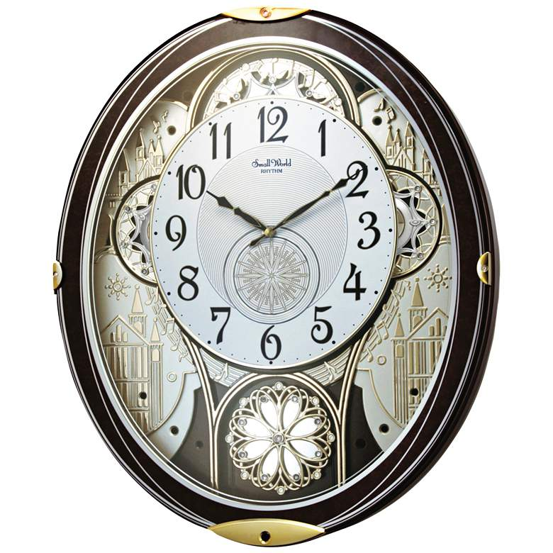 "Gala Wood 18 1/4"" High Motion Wall Clock with Chimes"