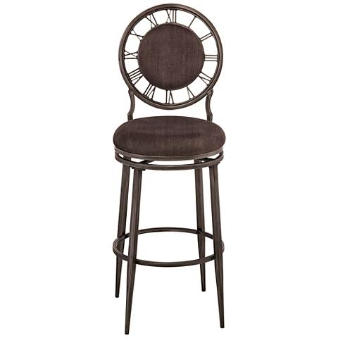 "Hillsdale Big Ben 26"" Ash Fabric Pewter Swivel Counter Stool"