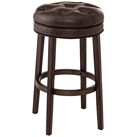 """Krauss 25 1/2"""" Brown Faux Leather Swivel Counter Stool"""