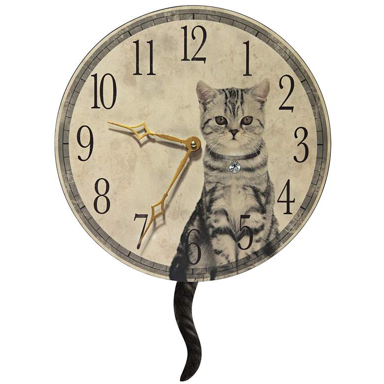 "Purrfect Timing Beige Wood 13 1/2"" Round Wall Clock"
