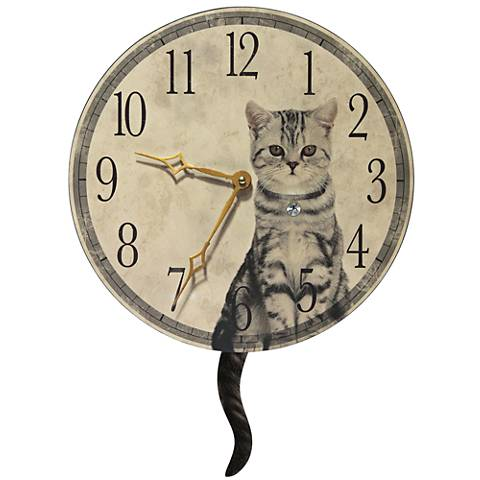 """Purrfect Timing Beige Wood 13 1/2"""" Round Wall Clock"""