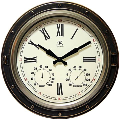 """The Forecaster Distressed Bronze 16"""" Round Wall Clock"""