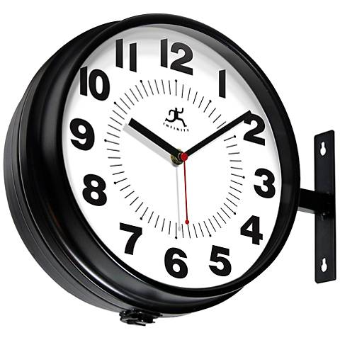 "Carlmont Black Two-Sided Mount and Hang 11""W Wall Clock"