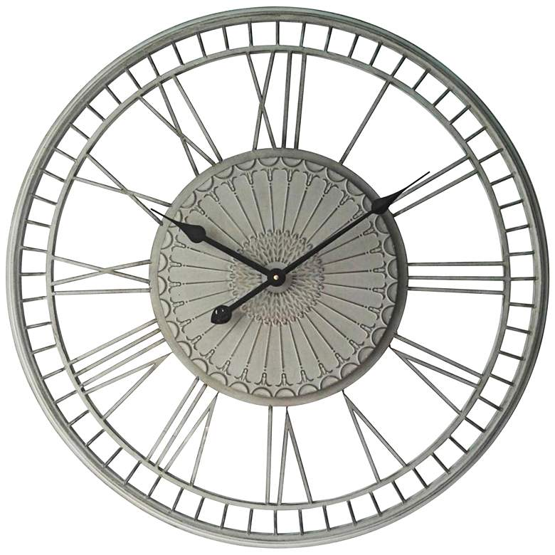 """Country Lace Whitewash 27 1/2"""" Round Wall Clock"""