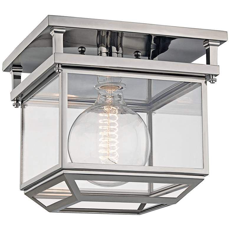 """Rutherford 10 1/2"""" Wide Polished Nickel Ceiling Light"""