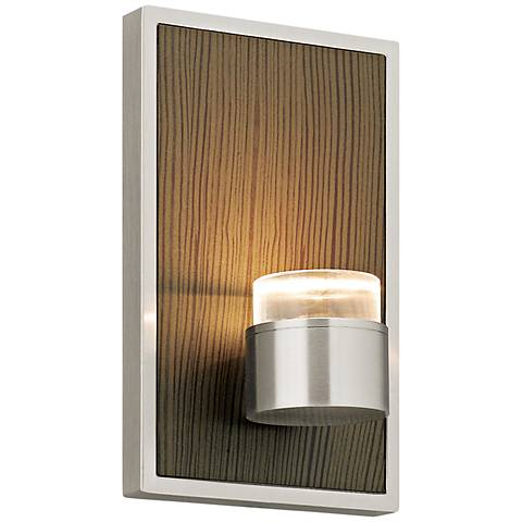"""Dobson 7""""H Brown Chestnut and Satin Nickel LED Wall Sconce"""