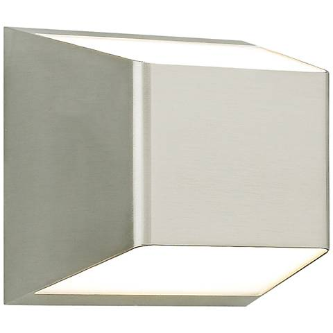 """Ebb 5 1/4""""H Satin Nickel Up and Down LED Outdoor Wall Light"""