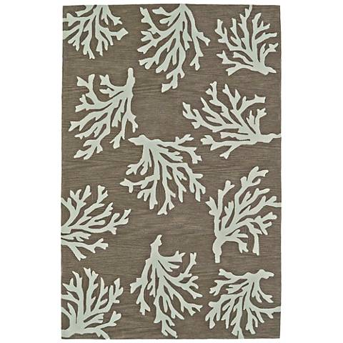 Dalyn Seaside Khaki Coral Rectangle Area Rug