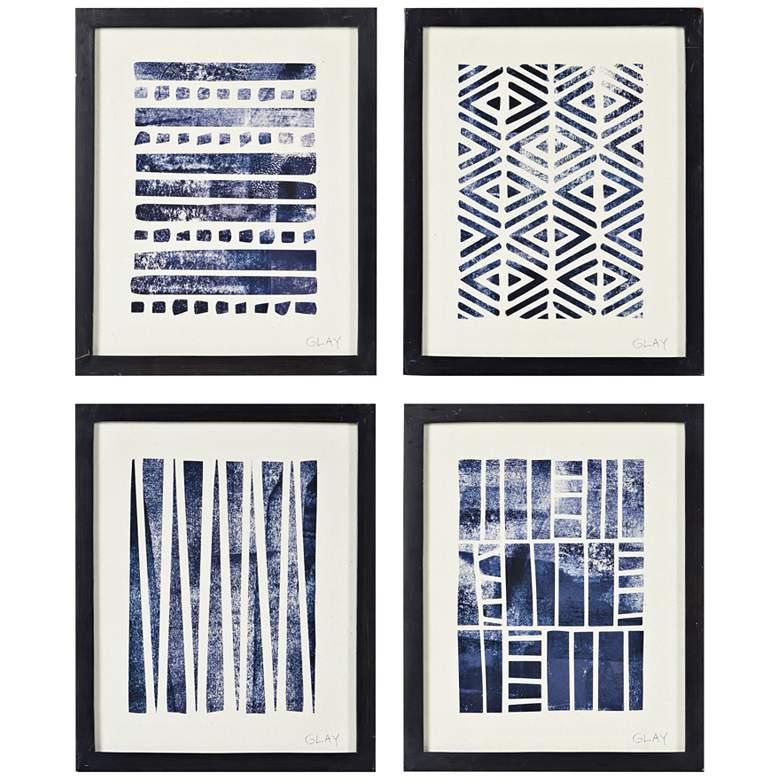 """Flint 4-Piece 16"""" High Black Blue Framed Wall Art Set"""