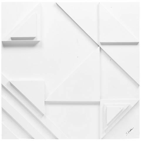 "Vector I 24"" Square White Geometric Modern Wall Art"