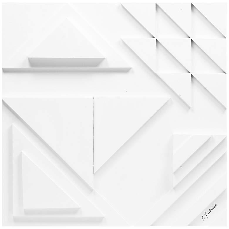 """Vector II 24"""" Square White Geometric Modern Wall Art"""