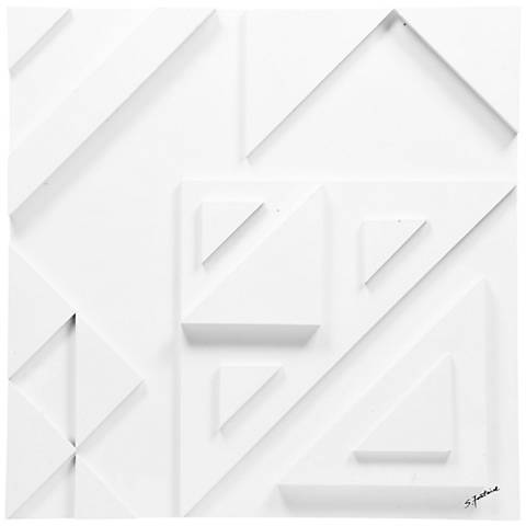 "Vector III 24"" Square White Geometric Modern Wall Art"