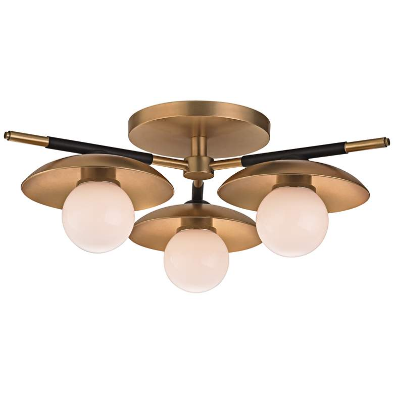 "Hudson Valley Julien 13""W Aged Brass LED Ceiling Light"
