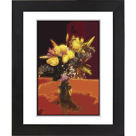"Spring Flowers Black Frame Giclee 23 1/4"" High Wall Art"