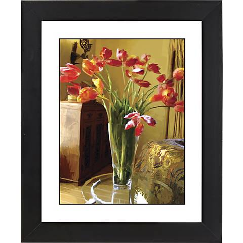 "Spring Flowers II Black Frame Giclee 23 1/4"" High Wall Art"