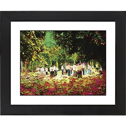 "At The Park Black Frame Giclee 23 1/4"" Wide Wall Art"