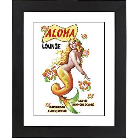 "Aloha Mermaid Black Frame Giclee 23 1/4"" High Wall Art"