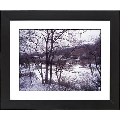 "Asian House In Winter Black Frame 23 1/4"" Wide Wall Art"