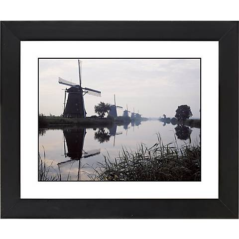 "Reflected Windmill Black Frame Giclee 23 1/4"" Wide Wall Art"