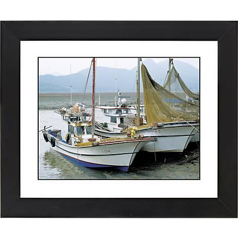 "Fishing Boats Black Frame Giclee 23 1/4"" Wide Wall Art"