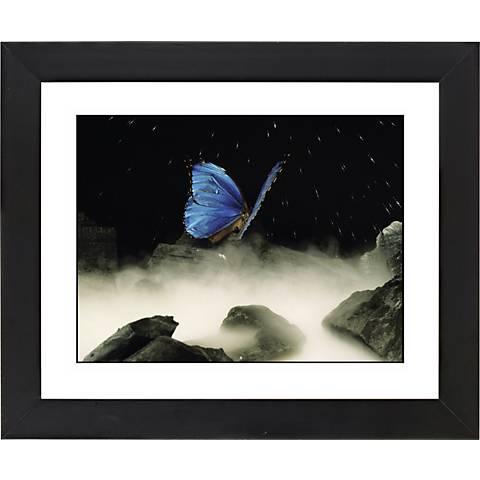 "Blue Butterfly Black Frame Giclee 23 1/4"" Wide Wall Art"