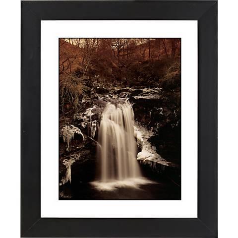 """Waterfall II Black Frame Giclee 23 1/4"""" High Wall Art"""
