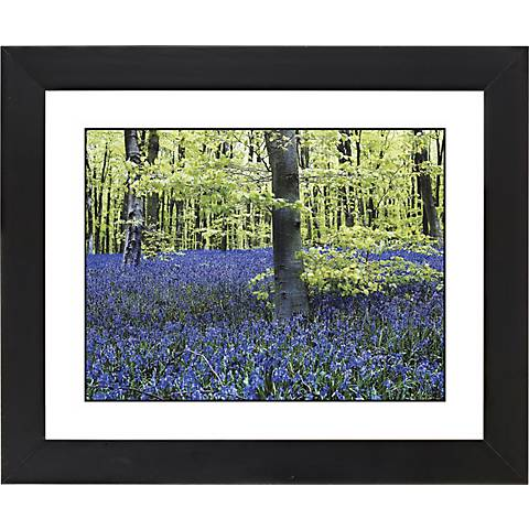 "Blue Poppies Black Frame Giclee 23 1/4"" Wide Wall Art"