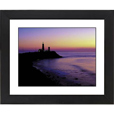 "Lighthouse At Sunset Black Frame 23 1/4"" Wide Wall Art"