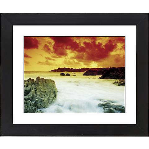 "Waterfall III Black Frame Giclee 23 1/4"" Wide Wall Art"