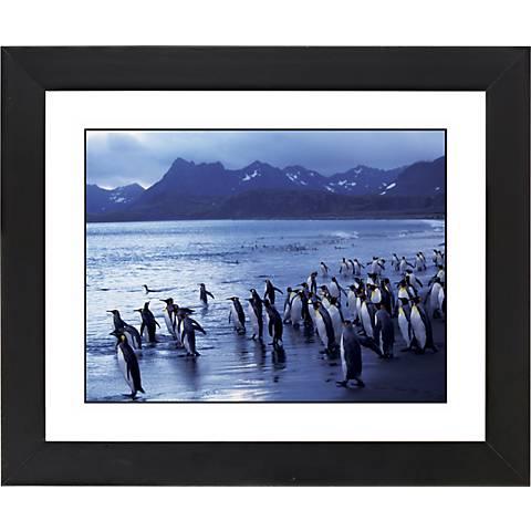 """Penguin Flock Black Frame Giclee 23 1/4"""" Wide Wall Art"""
