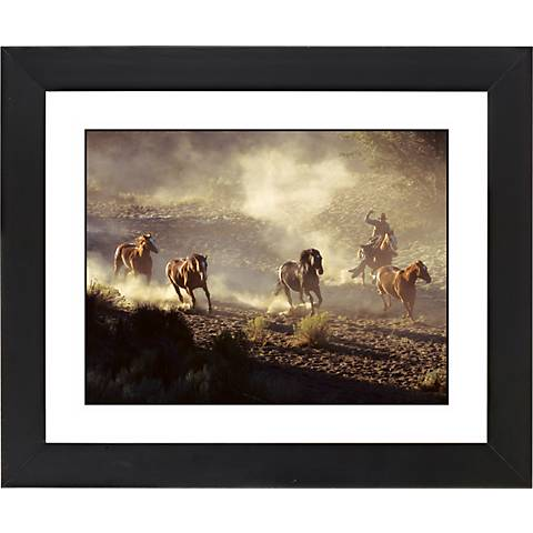 "Dusty Roundup Black Frame Giclee 23 1/4"" Wide Wall Art"