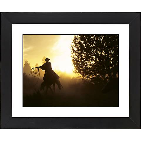 "Cowboy Roundup Black Frame Giclee 23 1/4"" Wide Wall Art"