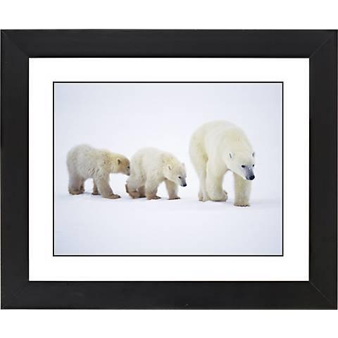 "Polar Bear And Cubs Black Frame Giclee 23 1/4"" Wide Wall Art"
