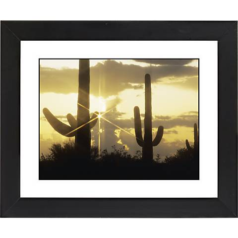 "Saguaro Sunrise Black Frame Giclee 23 1/4"" Wide Wall Art"