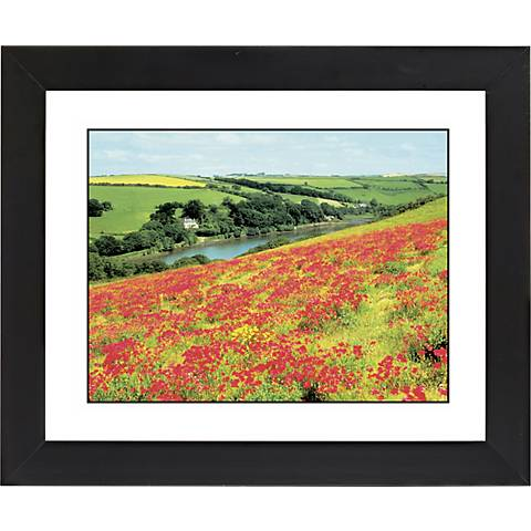 "Poppy Fields Black Frame Giclee 23 1/4"" Wide Wall Art"